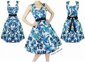 robe femme bleu vert fleur annees 1950 vintage rock n roll With robe bleu vert