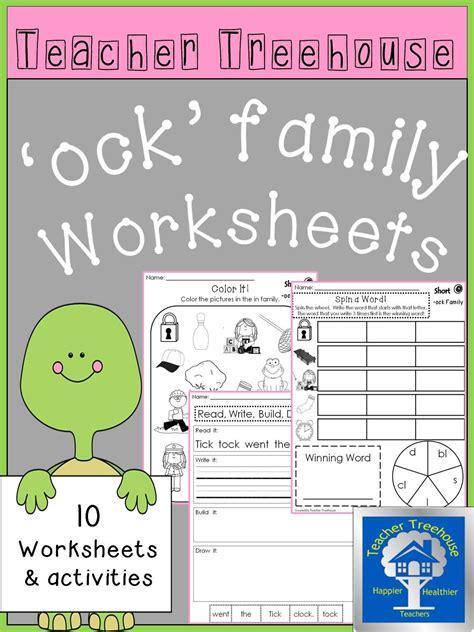 ock word family worksheets morning work homework and