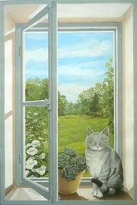 Image Trompe L Oeil : fen tre en trompe l 39 oeil avec un chat ~ Melissatoandfro.com Idées de Décoration