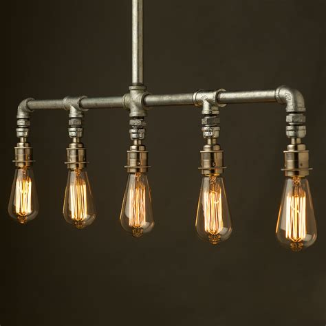 vintage galvanised plumbing pipe chandelier light