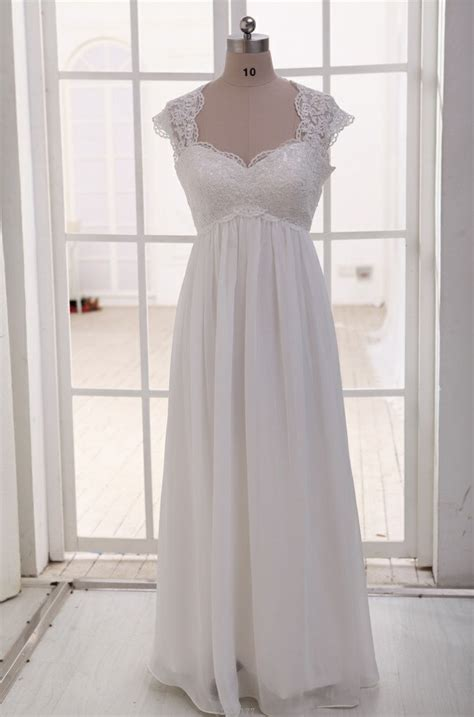 lace chiffon wedding dress cap sleeves empire waist
