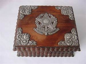 Antique 1889 Brazil Silver Carved Wood Cigarette Box Cigar Presentation