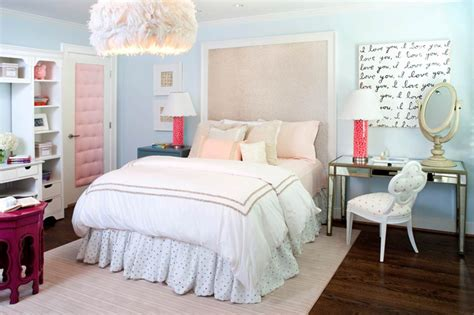 Pink And Blue Teen Bedroom-contemporary-girl's Room