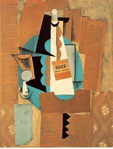 Glass and bottle of Suze, 1912 - Pablo Picasso - WikiArt.org