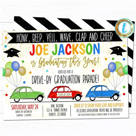 Drive By Graduation Parade Invite TidyLady Printables