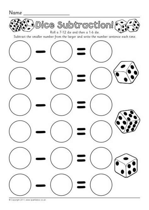 dice subtraction worksheets sb sparklebox