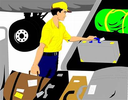 Baggage Handler Clipart Luggage Airplane Illustration Loading
