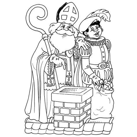 Kleurplaat Zwarte Piet Op Het Dak by Kleurplaat Sinterklaas En Zwarte Piet Op Het Dak