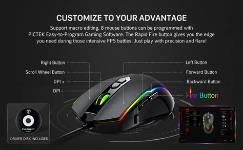 pictek gaming mouse wired programmable buttons chroma rgb