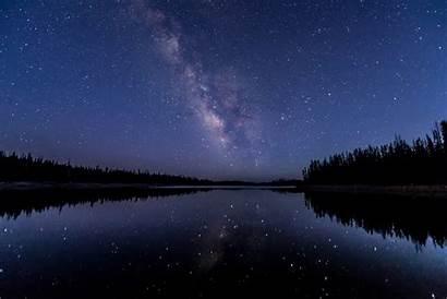 Night Starry Forest Water Reflection Stars Desktop