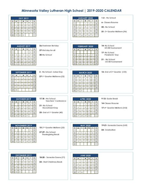 academic calendar minnesota valley lutheran high school