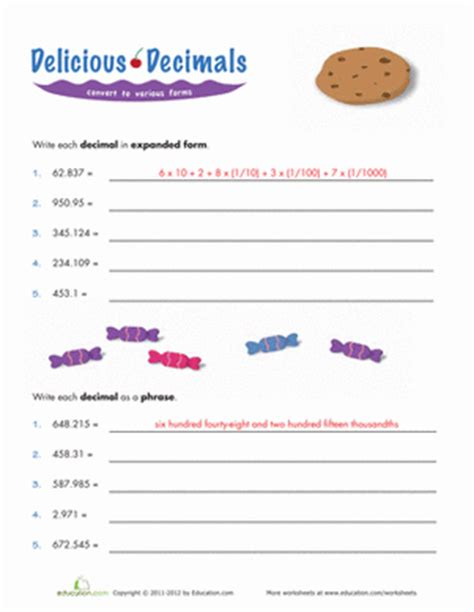 expanded form decimals worksheet education