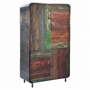 Schrank Aus Metall : schrank vadso aus recyceltem massivholz und metall ~ Whattoseeinmadrid.com Haus und Dekorationen