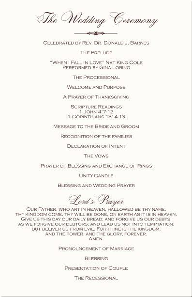 christian wedding programs ceremony ceremony in 2019