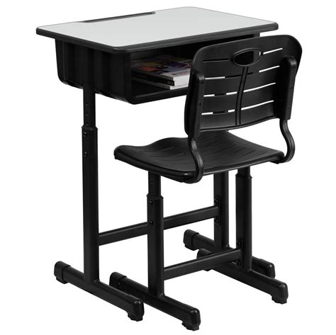 student desk chair adjustable height student desk and chair with black