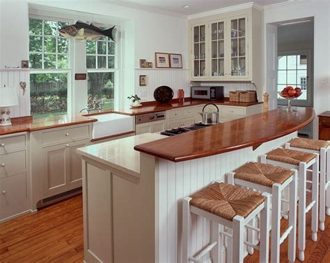 kitchen island countertop butcher block countertop on raised bar of island