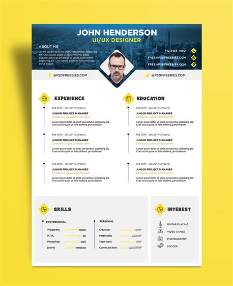 Ui Designer Resume Template by Free Creative Resume Cv Design Template For Ui Ux Designer Psd File Resume