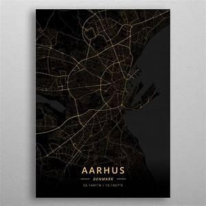U0026 39 Aarhus Denmark U0026 39  Poster Print By Designer Map Art