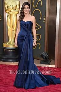 Sandra Bullock Navy Strapless Formal Dress 2014 Oscar Red ...