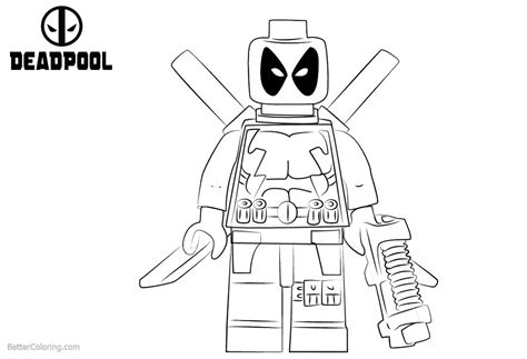 Lego Marvel Coloring Pages by Lego Deadpool Coloring Pages From Marvel Heros