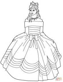 Dress Coloring Pages Coloring Pages Princess In Gown The Shoulder Dress Coloring Page