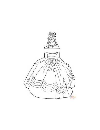 Coloring Princess Gown Ball Pages Printable Shoulder