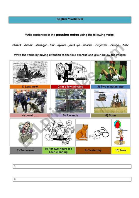 passive voice  images esl worksheet