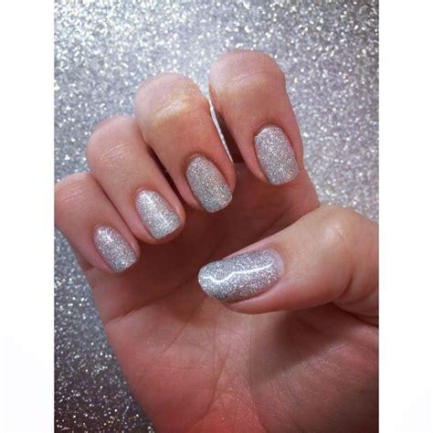 gelnägel glitzer gellux gel nails in silver glitter nails