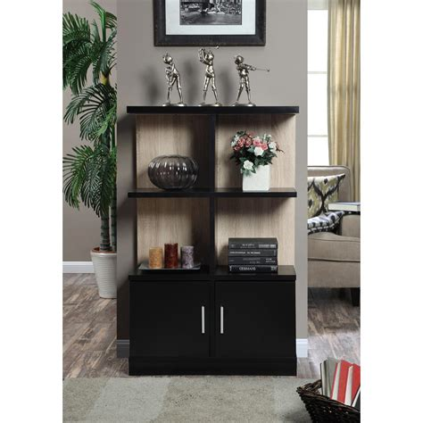 White And Black Bookcase by Convenience Concepts Key West Weathered White And Black