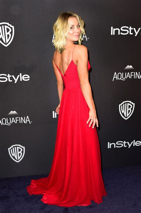 Kaley Cuoco Plunging Dress Golden Globes Party