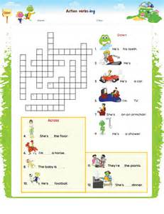 Crossword Puzzle About Action Verbs