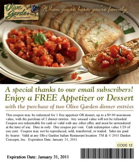 olive garden free appetizer free dessert or appetizer at olive garden who said