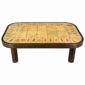 roger capron ceramic tile top coffee table for sale at 1stdibs With coffee table with tiles