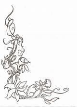 Border Corner Sketch Floral Flower Deviantart Borders Coloring Drawing Drawings Sketches Adult Embroidery Simple Flowers Stencil Decorative Vine Patterns Line sketch template