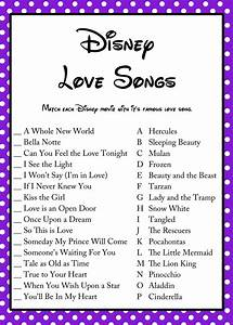 free disney love song bridal shower game bridal shower With wedding showers games