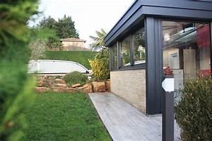 Terrasse Avec Muret : extension v randa vitr e avec murets en pierre donnant sur ~ Premium-room.com Idées de Décoration