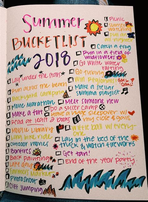summer bucket list ideas  teen girls
