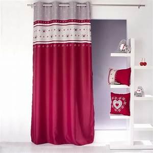 Rideau Occultant Imprimé : rideau occultant imprim flocons rouge homemaison vente en ligne tous les rideaux ~ Teatrodelosmanantiales.com Idées de Décoration