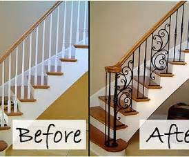 replacing a banister and spindles wooden balusters replaced with iron like minus the