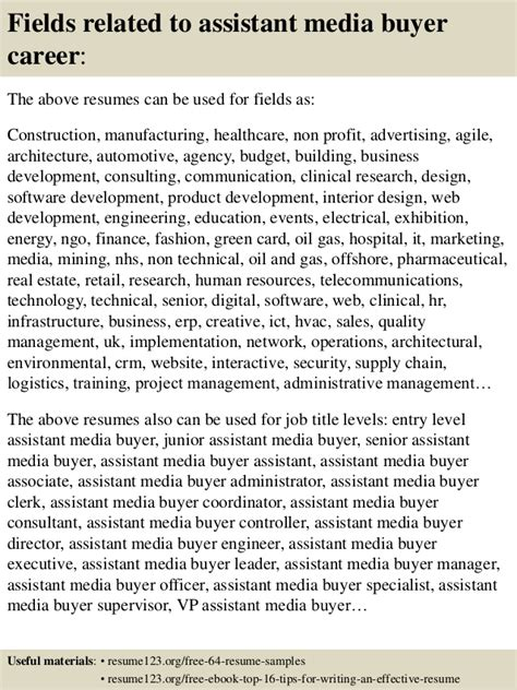 Assistant Media Buyer Resume by Top 8 Assistant Media Buyer Resume Sles