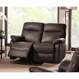 canape 2 places cuir relax electrique marron quotsuqiquot meuble With canapé relax 2 places électrique