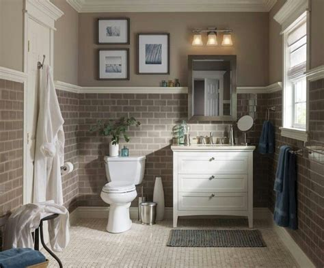 Neutral Colored Bathrooms by Rustic Mirror With Sconces Above Mocha Tile With White