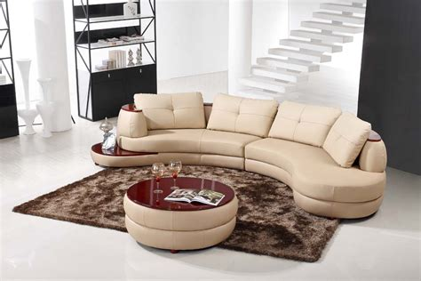 round loveseat with ottoman contemporary beige leather sectional curved sofa with