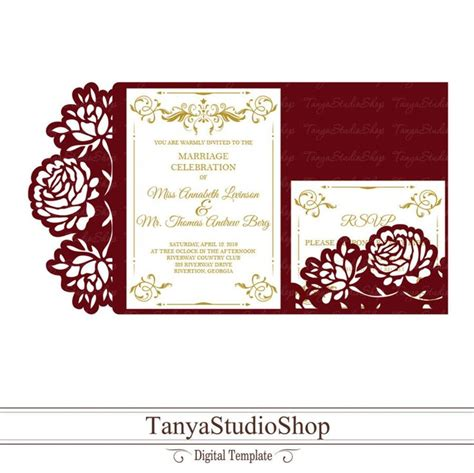 Wedding invitation template SVG DXF ai CRD eps Laser