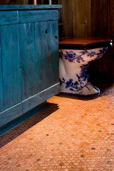 copper penny floor tile eclectic bathroom phoenix