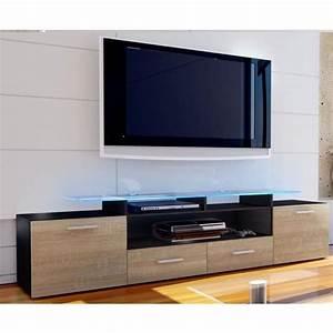 Meuble Bois Et Noir : meuble tv bois noir meubles tele ecran plat trendsetter ~ Melissatoandfro.com Idées de Décoration