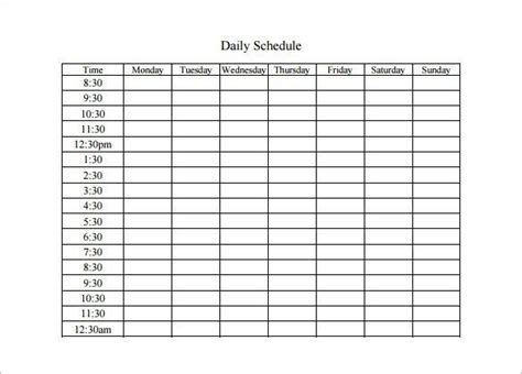 daily schedule templates daily planners daily