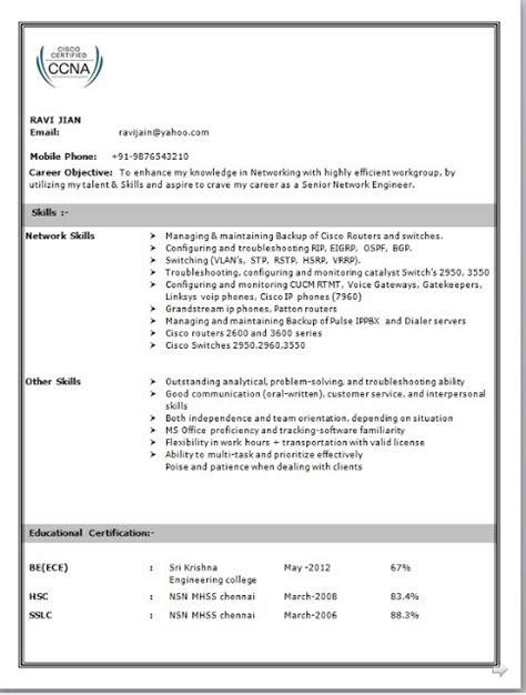 Resume Sles For Network Engineer by Network Engineer Resume Format