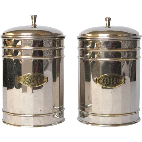 antique canisters kitchen pair of vintage chrome plated kitchen canisters