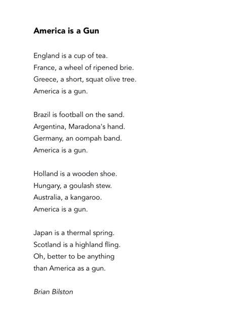 poignant poem entitled america   gun  poke